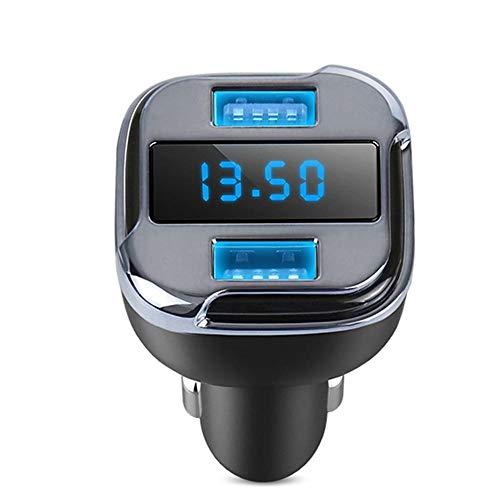 Cargador de vehículo, diseño de interfaz dual USB, pantalla de luz azul OLED, con función de compensación de voltaje lineal, adecuado para teléfonos móviles, tabletas, etc