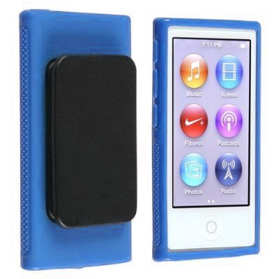 Generic Blue Belt Clip TPU Rubber Skin Case Cover for Apple iPod Nano 7th Generation 7G 7