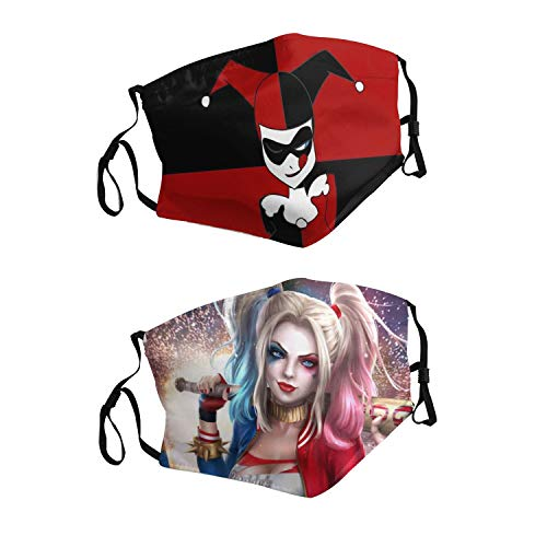 2pcs Harley Quinn Face Cover Windproof  Mouth Cover