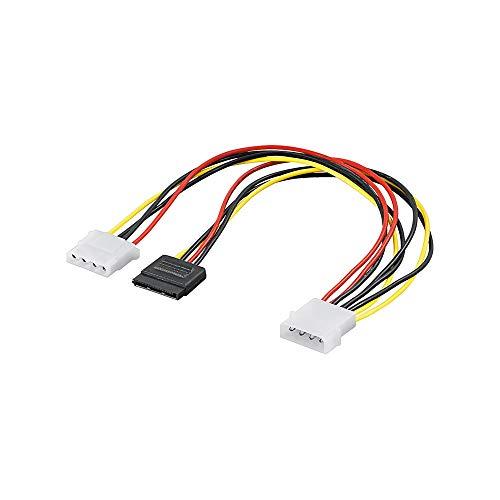Wentronic 93629 Internes Stromkabel (S-ATA 15-polig auf 2X 5,25 Zoll Stecker/Buchse) schwarz