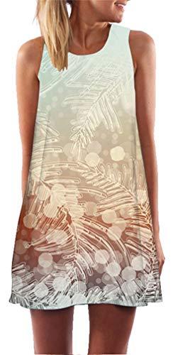 Ocean Plus Femme Multicolore Paréo Trapèze sans Manche Robe de Plage Haut Décontracté Flamant Loisir Feuilles Mini Robe (XXL (EU 42-44), Feuilles congelées)