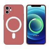 Funda Silicone Case Compatible con iPhone 11 Pro MAX 6.5', Magnética Carcasa Compatible con Carga Inalámbrica, Carcasa de Silicona Líquida Suave Case para iPhone 11 Pro MAX 6.5'-Vino Rojo