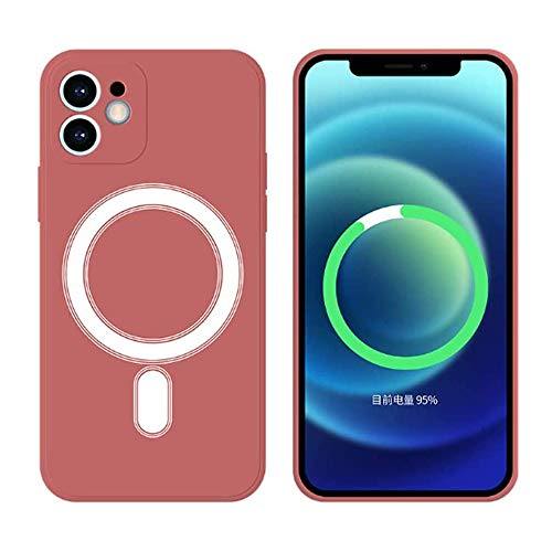 Funda Silicone Case Compatible con iPhone 11 6.1', Magnética Carcasa Compatible con Carga Inalámbrica, Carcasa de Silicona Líquida Suave Case para iPhone 11 6.1'-Vino Rojo