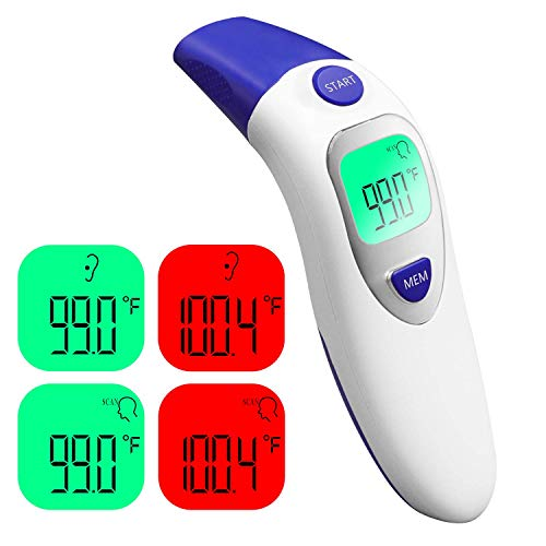 Infrared Thermometer for Adults and Kids, MOTORBEL Ear Non-Contact Thermometer with Backlit LCD Screen Display, Quick Detection and Fever Alarm, Suitable for Babies, Children, and All Age(Blue)