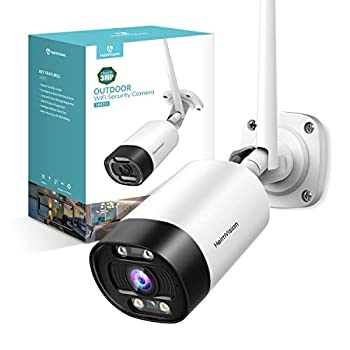 HeimVision 2K Outdoor Security Camera Wi-Fi Smart Camera with Floodlight Color Night Vision 2-Way Audio Motion Detection Siren Alarm Message Alert SD Card & Cloud Storage Weatherproof HM311