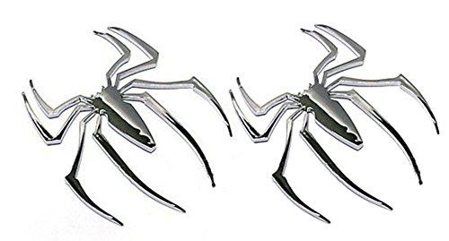 NISSING JUMUU 2PC Car 3D Logo Metal Spider Chrome Emblem Badge Sticker Self Adhesive Badge Decal Superher