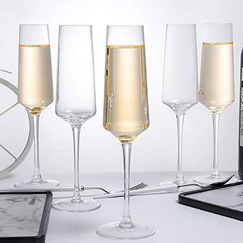 Hand Blown Crystal Champagne Flutes Champagne Glasses Set of 6 Elegant Flutes 100%Lead Free Quality Sparkling Wine Stemware Set Dishwasher Safe Gift for Wedding, Anniversary, Christmas - 8oz Clear