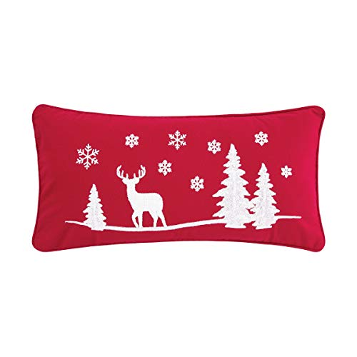 C&F Home Sleigh Ride Pillow 2 Christmas Xmas Deer Decorative Throw Pillow for Couch Chair Living Room Bedroom 12 x 24 red
