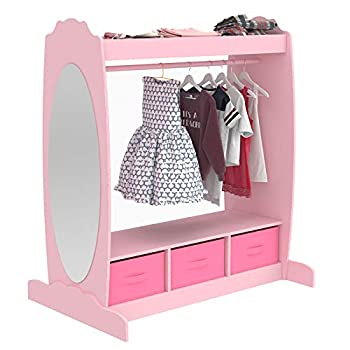Mecor Kids Dress Up Storage with Mirror Clothes Hook Shelf and Rod - Kids Armoire with Fabric Storage Bins  Pink