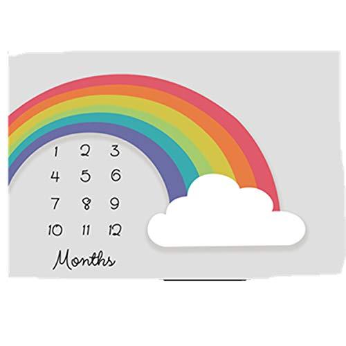 Regenbogen Flanell Baby Meilenstein Decke (senden Sie 2 Sätze Von Bilderrahmen), Diligencer Neugeborenen Monatlichen Meilenstein Decke Mädchen Junge G