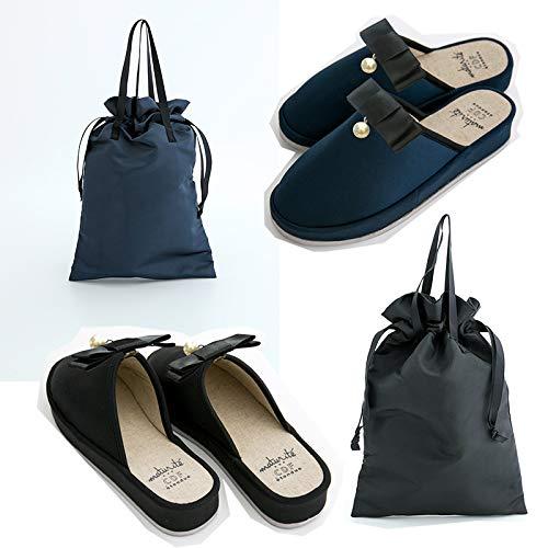 フォーマル ヒールスリッパ ブラック/ネイビー 手提げ袋付き 23〜24.5cm BK