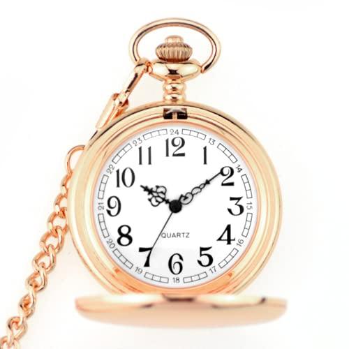 KYHS ポケットウォッチ 防水 クリップ ナースウォッチ 時計 懐中時計 キーホルダー 文字盤 文字盤 (ローズゴールド)