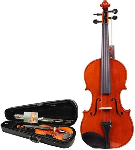 Violín Violín para principiantes Spruce Natural Madera Violin Hecho a mano Suite de sonido de alto brillo de un arco de violín Instrumento de la caja fuerte 4 cuerda ( Color : Wood , Size : 3/4 )