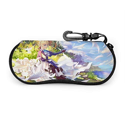 Anime Violet Evergarden - Funda blanda para gafas de sol (neopreno, cierre de cremallera), color violeta