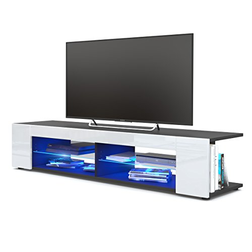 Mesa para TV Lowboard Movie, Cuerpo en Negro Mate/Frentes en Blanco de Alto Brillo con iluminación LED en Azul