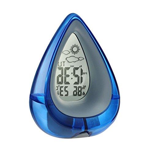 MagiDeal NEU Tropfen -Design Wasserbetrieben Snooze Wecker Tischuhr mit Thermo Hygrometer und Wetter Anzeige, Eco-Friendly Clock - Blau