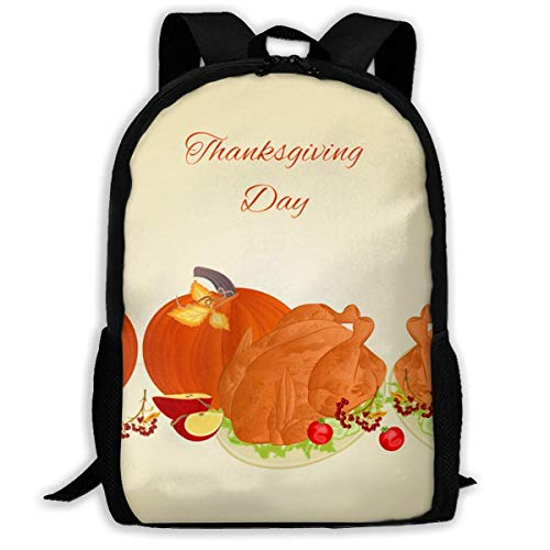 XCNGG Food Border with Thanksgiving Large Capacity Travel Computer Backpack, Adult Printed Backpack, Anti Splash Student School Backpack