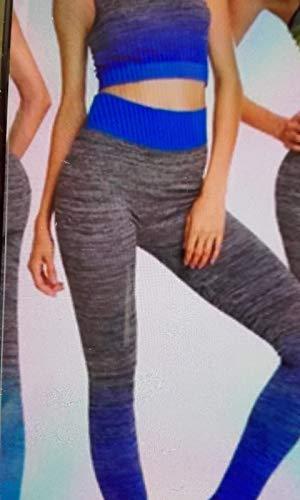 Cisne 2013, S.L. Conjunto de Ropa de Entrenamiento Deportiva para Mujer, Ropa para Yoga, Gimnasio, Running. Parte Superior Chaleco y Mallas Ajustadas fit. Talla Unica (S-L) Espiral Color Azul.
