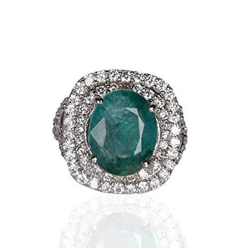 Anillo de piedra esmeralda verde colombiano natural Anillo de esmeralda verde certificado corte oval plata de ley 925