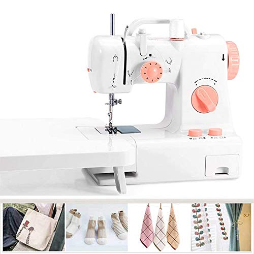Nologo Tragbare Mini-Nähmaschine, 2-Gang-Haushalt Crafting Mending Maschine mit Anschiebetisch, Fußpedal, LED-Nählicht, for Anfänger Erwachsene