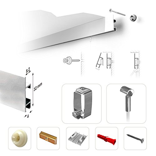 CLIPRAIL MAX 1000 cm (5 x 200 cm) weiß - einzigartige Bilderschienen mit garantierter Tragkraft. Bilderschienen im Set mit allen Zubehör zur Montage bereit.