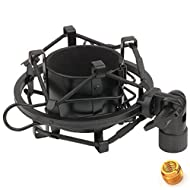 ZRAMO TH106 Black Spider Universal Microphone Shock Mount Holder Adapter Clamp Clip for AT2020 USB PR40 RE20 AT4033a AT2050 Large Diameter Studio Condenser Mic Anti-Vibration Mic Holder