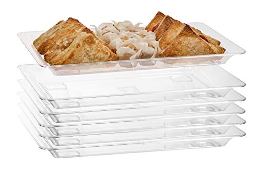 Exquisite - 6 Pack Crystal Clear Premium Quality 145x 95 Rectangle Plastic Disposable Serving Trays For Parties - Heavy Duty Serving Platter And Serving Trays For Eating Medium - 145 x 95
