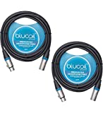 Blucoil Audio 2-Pack of 10-FT Balanced XLR Cables - Premium Series 3-Pin Cable for Microphones, Speakers, and Pro Devices (Male-to-Female)