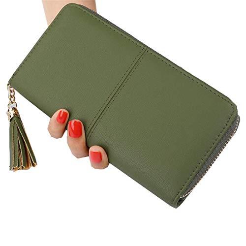 MIMIOOORE grote reistas vrouwen RFID-blokkeren lederen rits rond portemonnee koppeling polsband 21x10.5x2.5 cm Groen