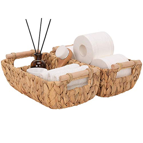 StorageWorks Hand-Woven Small Wicker Baskets, Water Hyacinth Storage Baskets with Wooden Handles, 12.4