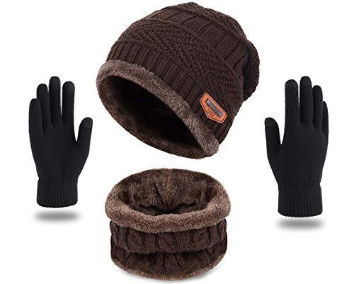 HUNTSMANS ERA Winter Knit Beanie Cap Hat Neck Warmer Scarf and Woolen Gloves Set Skull Cap for Men Women (3 Piece) (Black)