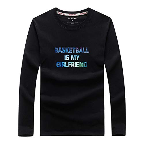 HOSD Camiseta de manga larga para hombre, informal, cuello redondo