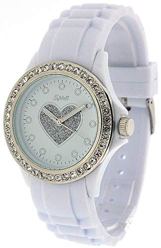 SPIRIT ASPL42 weiße Damen-Sportarmbanduhr mit Herz, Zargenfassung mit Kristallen, Gummiarmband