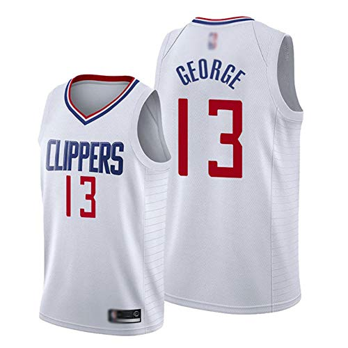 HBCC # 13 Camiseta de Fan de Paul George LA Clippers,Camiseta de Tirantes de Baloncesto para niños,versión de Bordado Fino,Camiseta,Uniforme,Ropa Deportiva,Blanco-A_XL_Equipo de Deporte