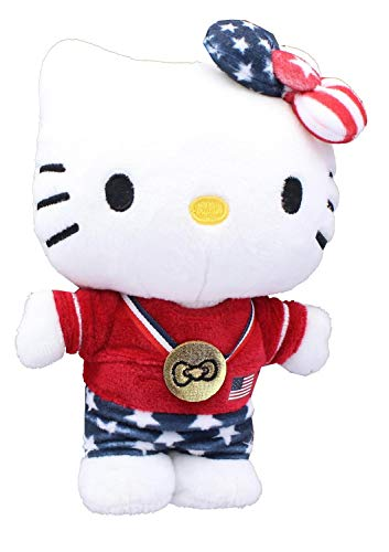 GUND Hello Kitty 7' Summer Olympics Set of 3: Team USA Champion, Olympic Swimmer, and Olympic Gymnast, with Drawstring Bag
