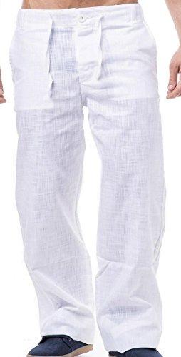 KDWN - Pantaloni in lino per il tempo libero disponibile in nero o bianco bianco XL
