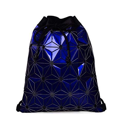 VHVCX Las mujeres forman Mochila Negro Pvc Draw Bolsa portátil Cadena holográfica mujeres del bolso de la taleguilla Mochila, Azul