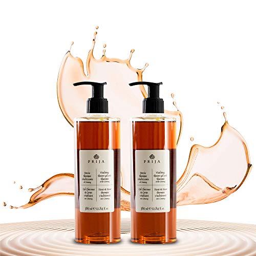 Prija Haut & Haarshampoo und Duschgel mit Ginseng mit 2 praktischen Spendern – 2x 380 ml rein pflanzliche Waschlotion für Frauen und Männer