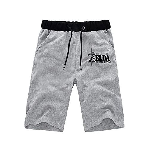 Kvghtt Activewear-Shorts Kurze Hose Hosen Herren The Legend of Zelda Mann Sport Kurz Sommer Stretch Baumwolle Fitness Short Pants Grau M