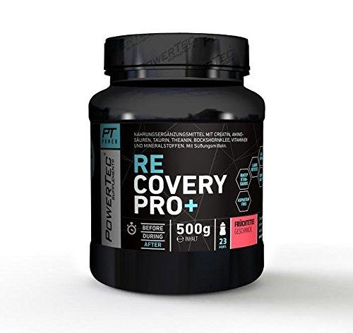 PowerTec Recovery Pro+ - Post-Workout Shake mit Aminosäuren, Glutamin, Magnesium und Vitaminen für eine rasche Regeneration - 500g (Früchtetee)