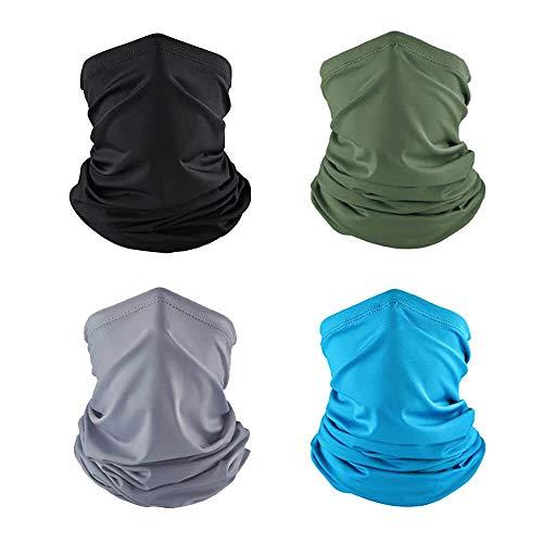 WJOY 4 Stück Halstuch Bandana Gesichtstuch Sonnenschutz kühl leicht atmungsaktiv staubdicht Schlauchschal Multifunktionstuch Neckwarmer Stirnband zum Wandern Radfahren Motorrad Laufen Angeln