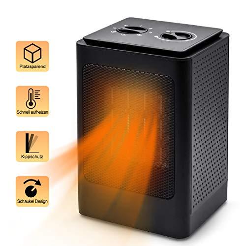 HDCOOL Calefactor de cerámica, mini calefactor de cerámica, 1500 W/750 W, con 3 modos de calefacción, bajo consumo, protección contra sobrecalentamiento y vuelco, oscilante para baño, oficina, etc.