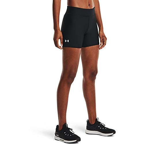 Under Armour HG Armour Mid Rise Middy - Pantalones Cortos para Mujer, Mujer, Pantalones Cortos, 1360938-001, Negro/Blanco, Extra-Small