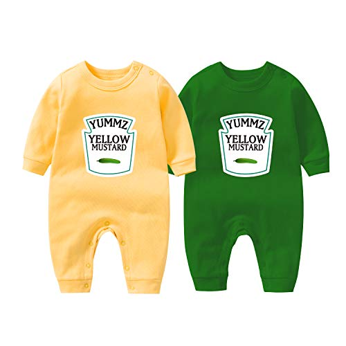 culbutomind Baby Body Yummz Tomato Ketchup Senf Rot Gelb Zwillingsset Jungen Mädchen Kleidung Zwillinge Baby Outfits Gr. 80, Gy L