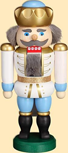 Weihnachtsdekoration Nußknacker König weiß-blau HxBxT = 20x10x6cm NEU Weihnachten Seiffen Nutcracker Nüsse Erzgebirge Winter Dekoration Holzkunst Holz Weihnachtsmann Christmas Walnuss