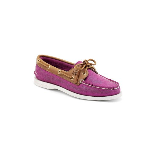 Sperry Top-Sider Women's A/O Sparkle Suede,Pink Sparkle Suede/Cognac,US 5 M