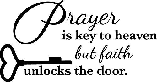 Newclew Prayer is Key to Heaven but Faith unlocks The Door Wall Art Sayings Sticker Décor Decal Prayer Church Jesus Pray ((M) 22''x11'')