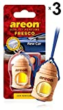AREON Fresco Auto Nuova New Car Deodorante Fresh da Appendere Specchietto Pendente Boccetta Blu Legami 3D (New Car Set x 3)