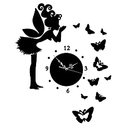 GHJA DIY Wall Clock Wall Stickers-Butterfly Fairy, Modern Acrylic Mirror Surface 3D Wall Decor Clock for Living Room Bedroom Tv-Black 8inch