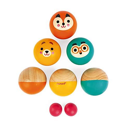 Janod - Jeu Pétanque en Bois pour Enfant Happy Garden - 6 Boules et 2 Cochonnets - Jeu de Plein Air - Dès 3 Ans, J03199